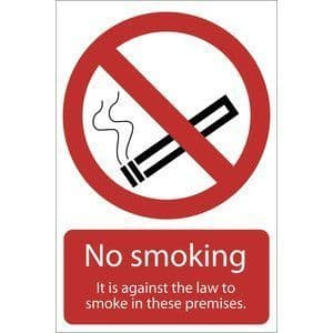 DRAPER 'Smoking Against The Law' Prohibition Sign